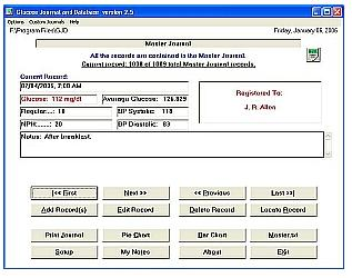 Glucose Journal and Database showing the Master Journal.