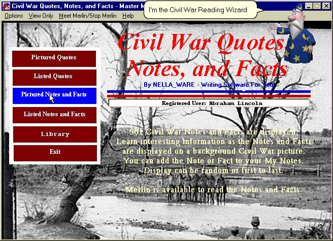 Click to view Civil War Quotes, Notes, and Facts 1.0 screenshot