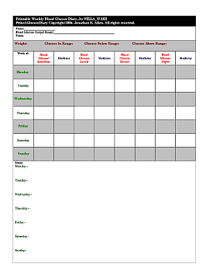 The weekly blood glucose diary sheet.